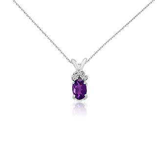 14K White Gold Oval Amethyst Pendant with Diamonds and 18