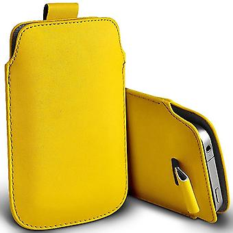 ONX3 (Yellow) Samsung Galaxy Xcover 4 Case Slip In Pull Tab Faux Leather Pouch Case Cover