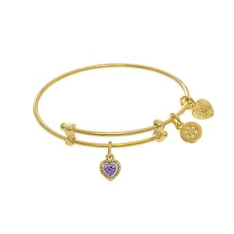 June Heart Shape CZ Birthstone Charm Adjustable Bangle Girls Bracelet