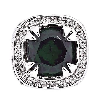 Iced out bling hip hop LUXURY GLASS ring - silver