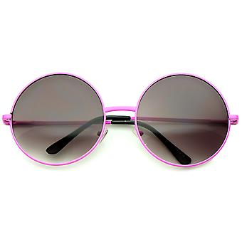 Super Oversize Slim Temple Neon Frame Round Sunglasses 61mm