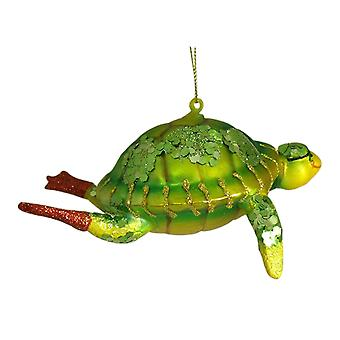 Snorkeling Green Sea Turtle Christmas Holiday Ornament Glass