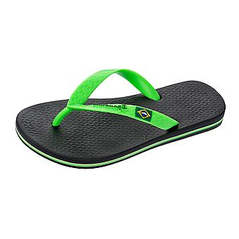 Ipanema Rio II Kids Flip Flops / Sandals - Black and Bright Green