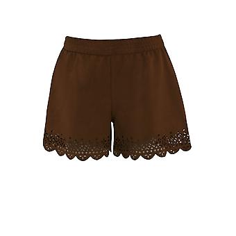 Ex Monsoon Rust Suedette Girls Shorts With Laser Cut Hem