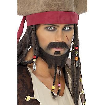 Piraten-Bart Set Braun 3 Teile geflochten