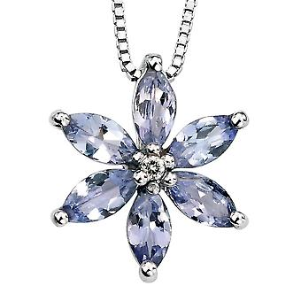 9Ct Gold With Tanzanite And Diamond Flower Necklace