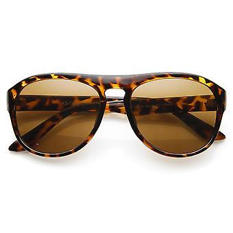 Klassiska Dapper nyckelhålet platt topp runda Aviator solglasögon
