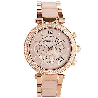 Michael Kors MK5896 Gold Parker Crystal Dial Chronograph Women's Ladies Wrist Watch