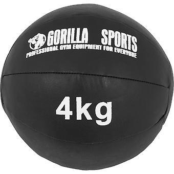 Medizinball aus Leder in Schwarz 4 kg