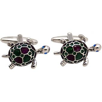 Zennor Turtle Cufflinks - Silver/Red/Green