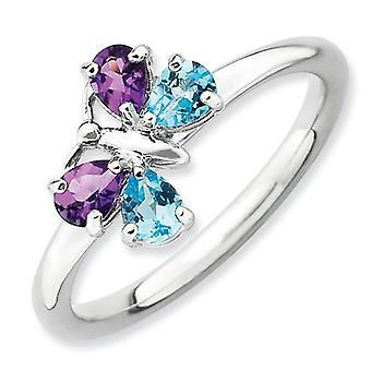 2.25mm Sterling Silver Stackable Expressions Polished Bt and Am Butterfly Ring - Ring Size: 5 to 10