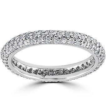 1 1 / 10ct Pave Diamond Eternity Ring 14K White Gold