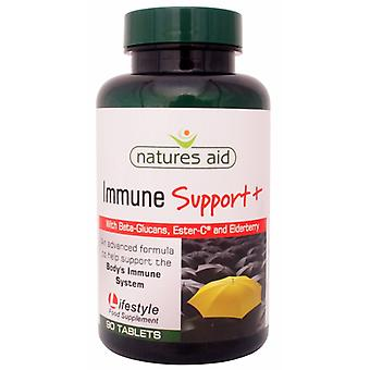 Natures Aid Immune Support + (with Beta-Glucans, Ester-C and Elderberry), 90 tablets