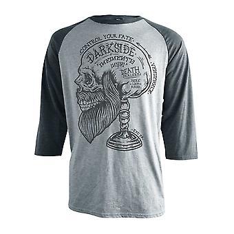 Darkside - MEMENTO BEARDED SKULL - Raglan T Shirt Grey