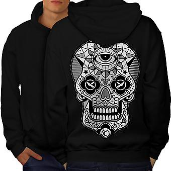 Eye Skull Head Men BlackHoodie Back | Wellcoda