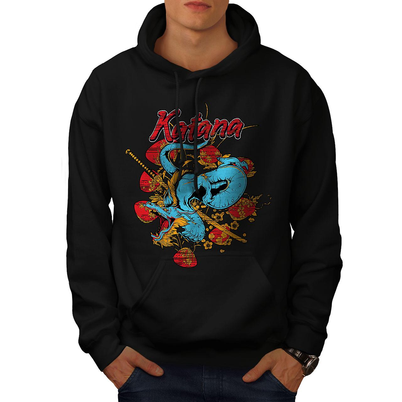 Katana Dragon Fantasy Men Black Hoodie | Wellcoda