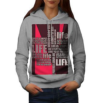 Vida diciendo sueño lema mujeres GreyHoodie | Wellcoda