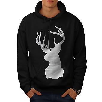 Deer Head Men BlackHoodie   Wellcoda