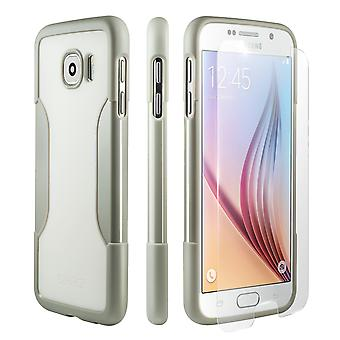 SaharaCase Galaxy S6 Fossil White Case, Classic Protective Kit Bundle with ZeroDamage Tempered Glass