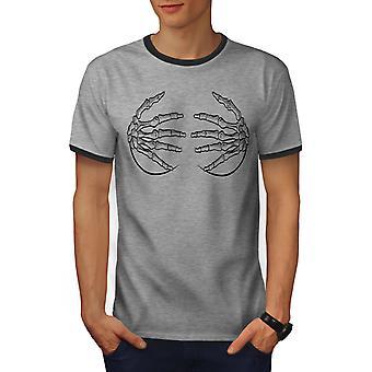 Skeleton Hands Men Heather Grey / Heather Dark GreyRinger T-shirt | Wellcoda