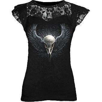 Spiraal-Raven van kooi-Womens Lace gelaagde GLB mouw top