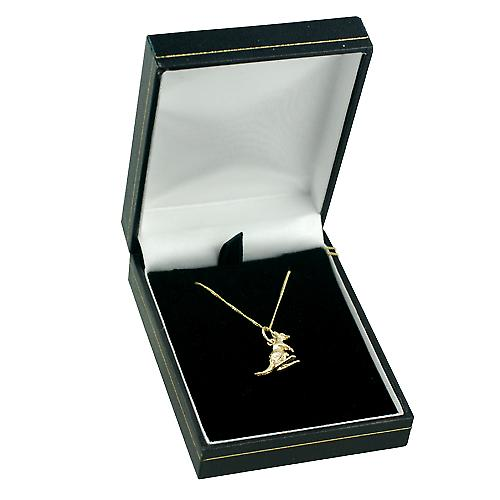 9ct Gold 13x14mm Kangaroo Pendant with a curb Chain 16 inches Only Suitable for Children
