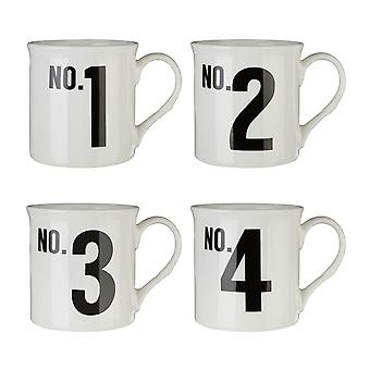 Premier Housewares Set of 4 Numbers Mugs