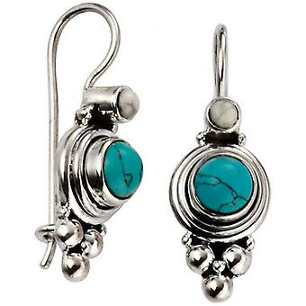 Beginnings Pressed Turquoise and Howlite Oxidised Drop Earrings - Turquoise/Silver