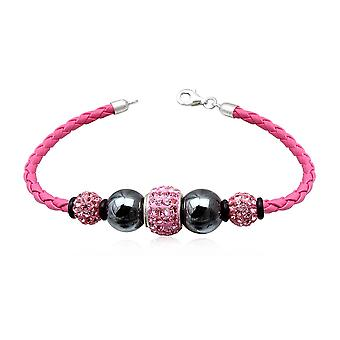 Leather Bracelet pink, pearls Hematites black and Crystal Rose and Silver 925
