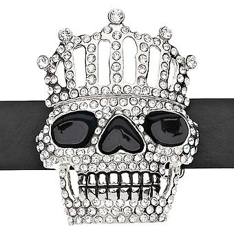 Iced out bling belt - XXL Crown skull