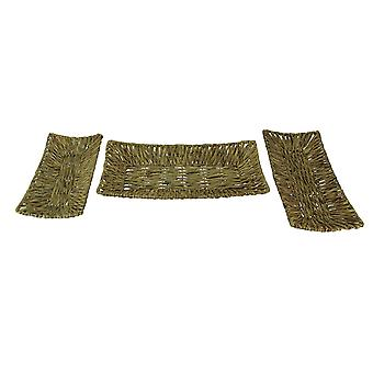 Set of Three Woven Water Hyacinth Decorative Trays