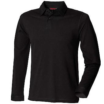 Skinnifit Mens Long Sleeve Modern Polo Shirts Black