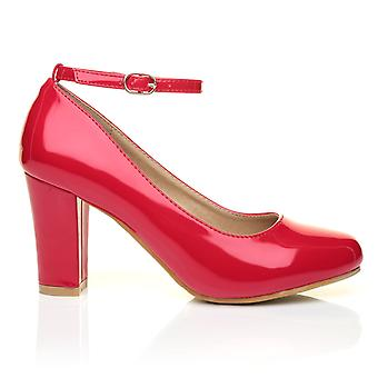 ZARA Red Patent Block Heel Ankle Strap Round Toe Court Shoes