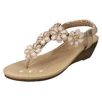 Las señoras Savannah mediados cuña Toepost sandalias F10781 - oro sintético - Reino Unido tamaño 8 - UE tamaño 41 - talla US 10