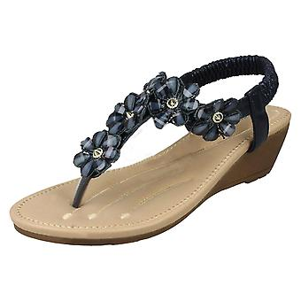 Ladies Savannah Mid Wedge Toepost Sandals F10781 - Gold Synthetic - UK Size 5 - EU Size 38 - US Size 7