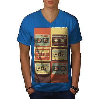 Vintage Cassette Music Men Royal BlueV-Neck T-shirt | Wellcoda