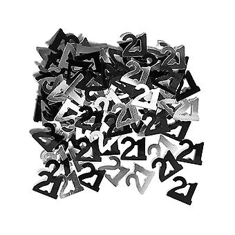 Birthday Glitz Black & Silver 21st Birthday confetti
