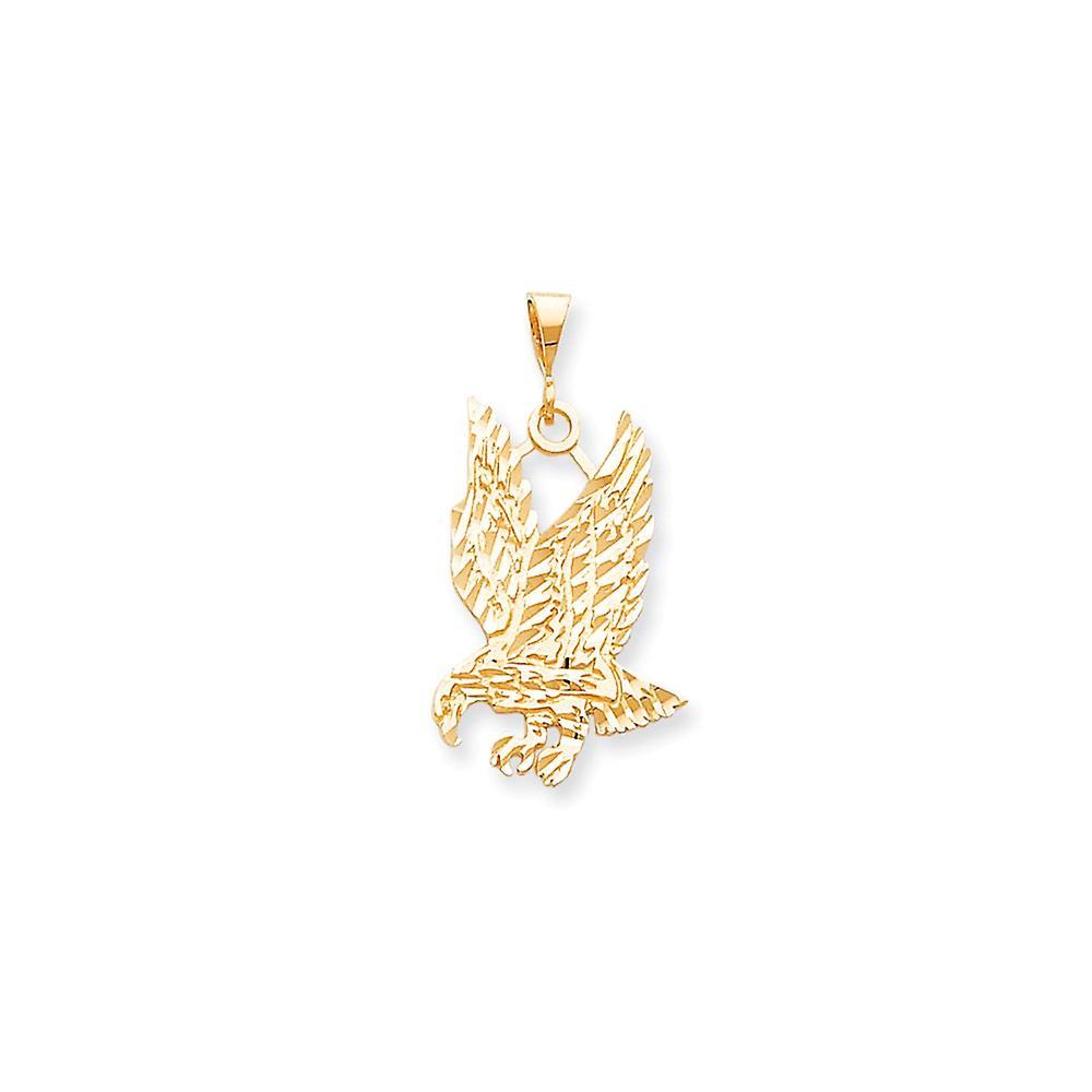 10k jaune or Solid Sparkle-Cut Eagle Charm - 3.2 Grams