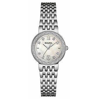 Bulova Womens RVS Diamond instellen White Dial 96W203 Watch