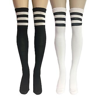 Athletic Striped Classic Ribbed Knit Thigh High Stockings Pack of 2- Fits up to 170lbs