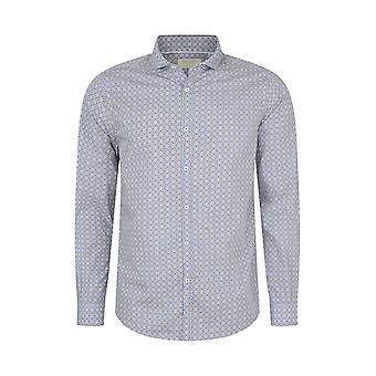 Fabio Giovanni Rivello Shirt - High Qulity Italian Poplin Cotton with Geometric Print Shirt