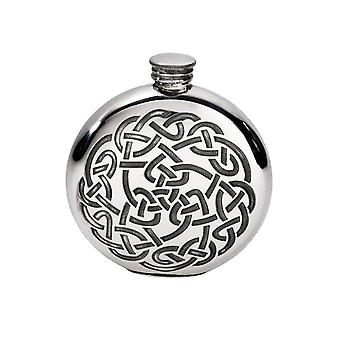 Celtic Knot Embossed Round Pewter Flask - 6oz