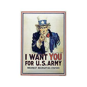 I Want You (Uncle Sam) Embossed Large Metal Sign