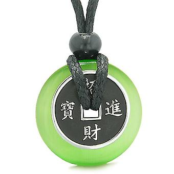 Amulet Lucky Coin Charm Donut Green Simulated Cats Eye Magic Spiritual Powers Necklace
