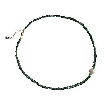 Gemshine - ladies - necklace - gold plated - Emerald - Green - Pearl - White - 45 cm
