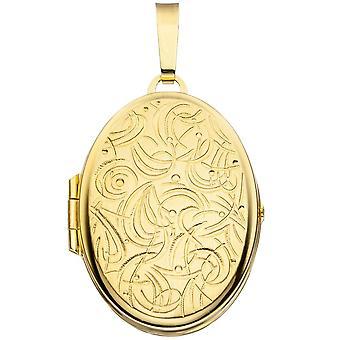 Médaillon ovale pendentif 333 or jaune or dépoli partiellement avec des ornements d'or médaillon
