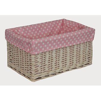 Canasta de almacenamiento forrado manchada rosa medio