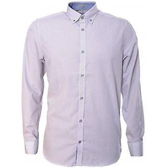Ted Baker Mens Jerrys Cross Hatch camicia stampa