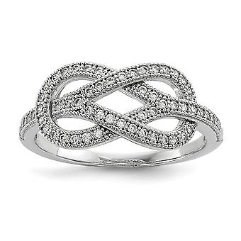 925 Sterling Silver Pave Rhodium-plated and Cubic Zirconia Brilliant Embers Love Knot Ring - Ring Size: 6 to 8