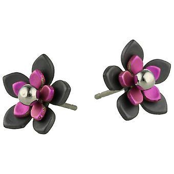 TI2 titanio nero indietro cinque petalo di fiore orecchini - rosa chiaro